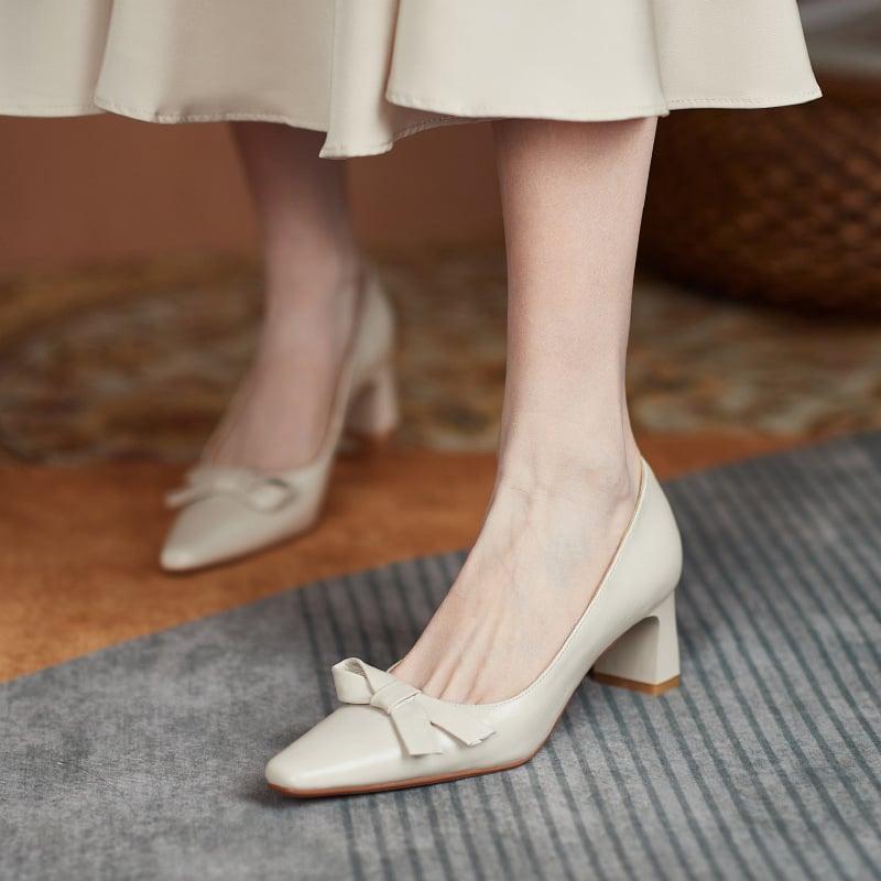 Chiko Diya Square Toe Block Heels Pumps