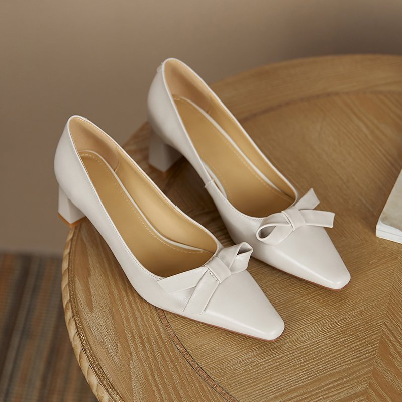 Chiko Diya Square Toe Block Heels Pumps