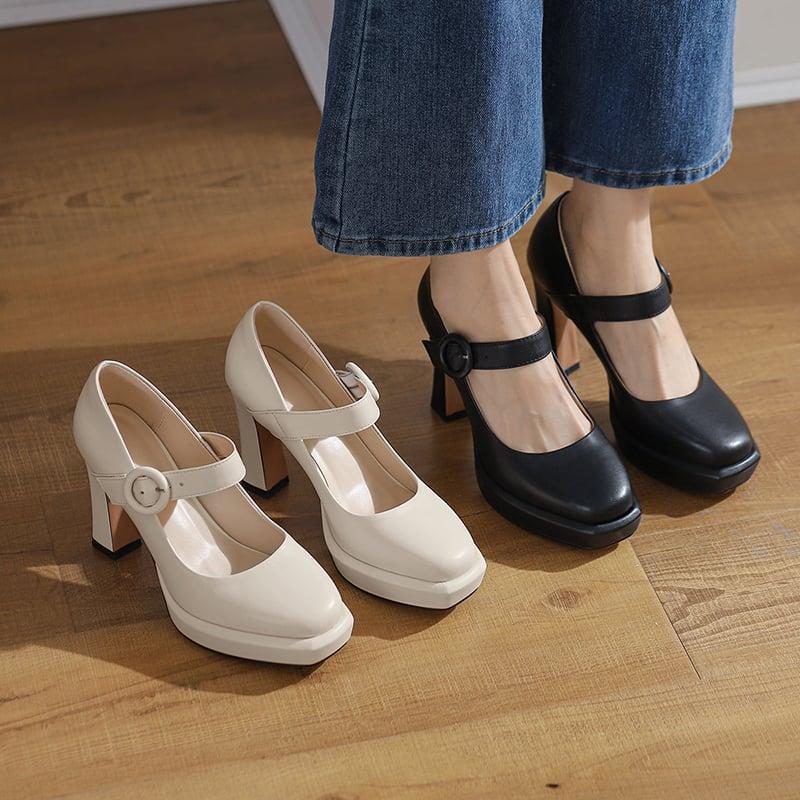 Chiko Janaki Square Toe Chunky Heels Pumps