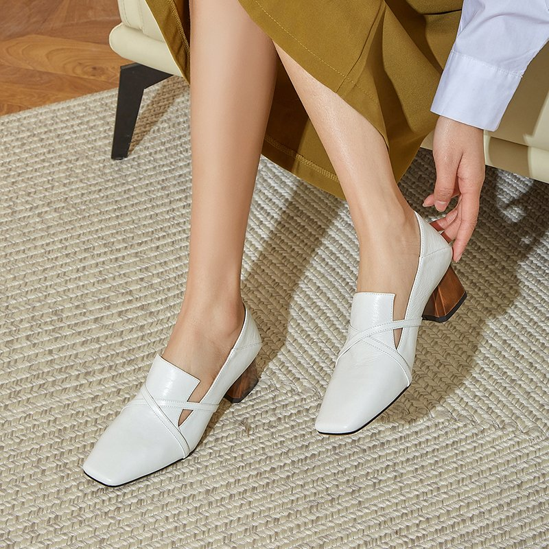 Chiko Kerani Square Toe Block Heels Loafer