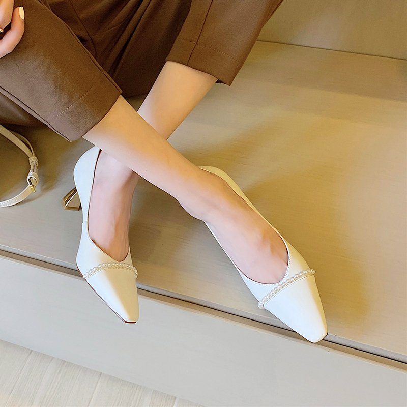 Chiko Natesa Square Toe Curved Heels Pumps