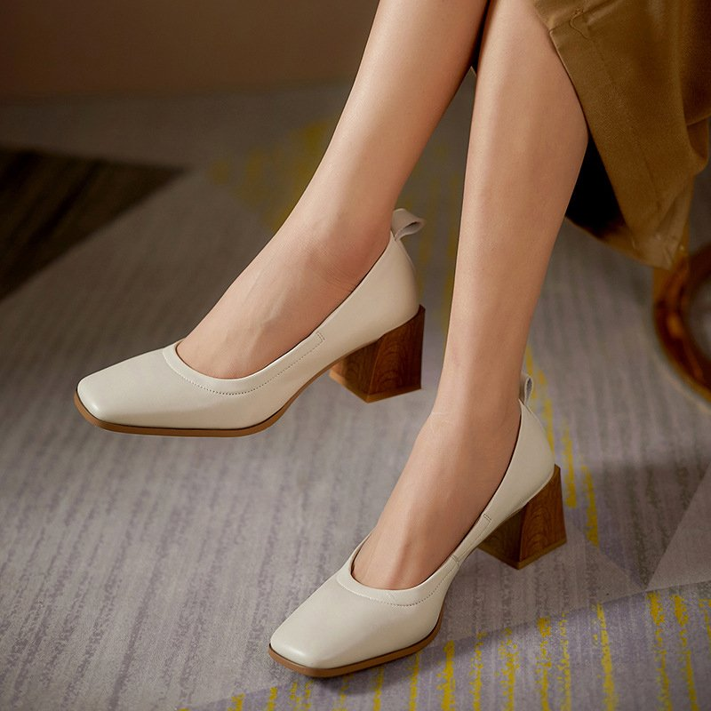 Chiko Kiranjit Square Toe Block Heels Pumps
