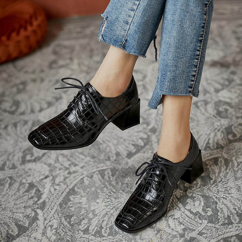 Chiko Kusa Square Toe Block Heels Oxford