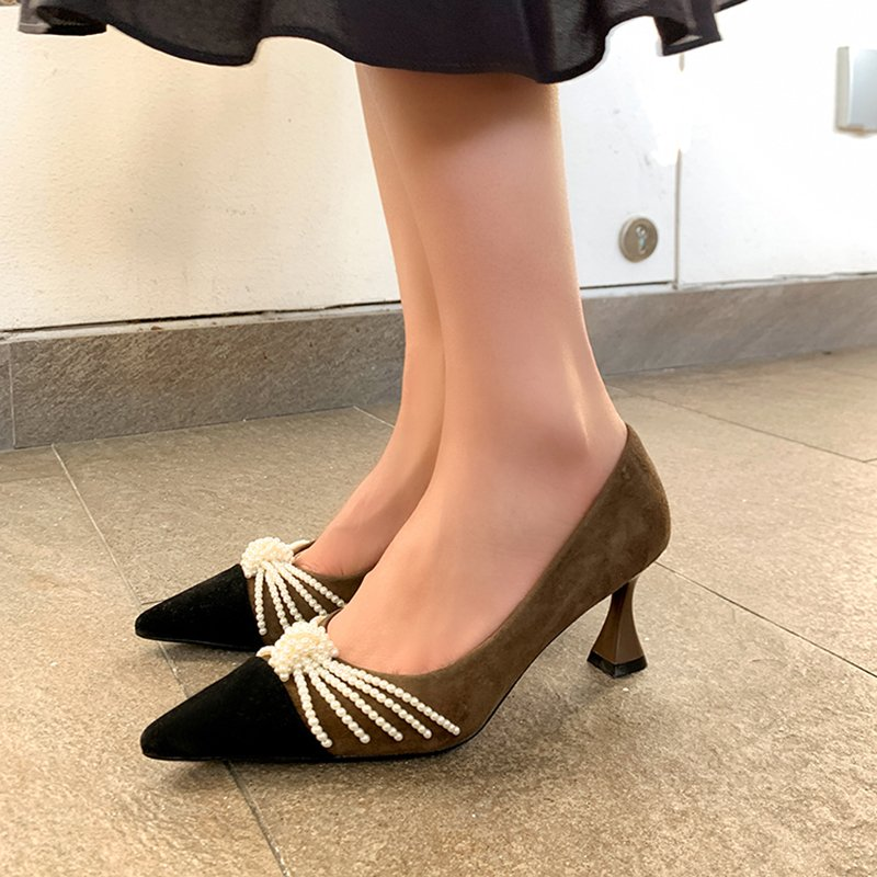 Chiko Lakiya Pointed Toe Curved Heels Pumps