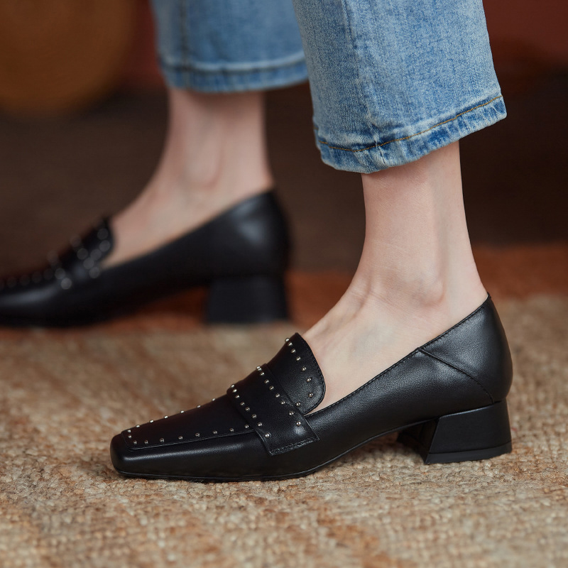 Chiko Lyla Square Toe Block Heels Loafer