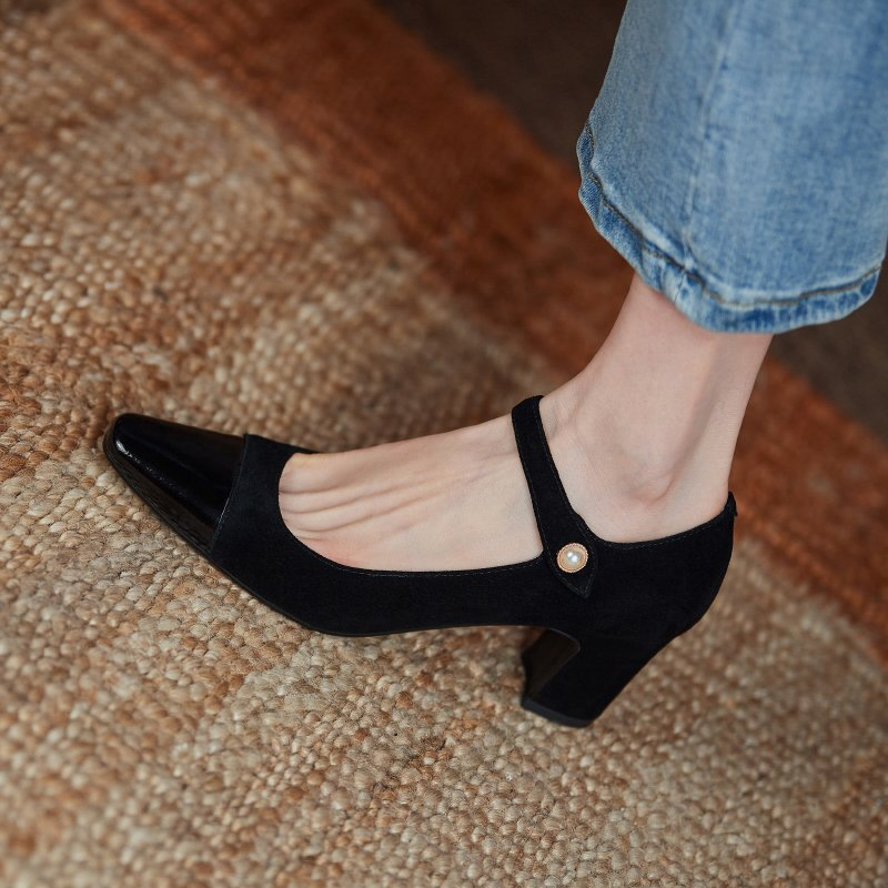 Chiko Matrika Square Toe Block Heels Pumps