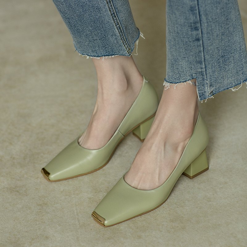 Chiko Sala Square Toe Block Heels Pumps