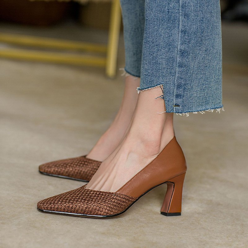 Chiko Saura Square Toe Block Heels Pumps