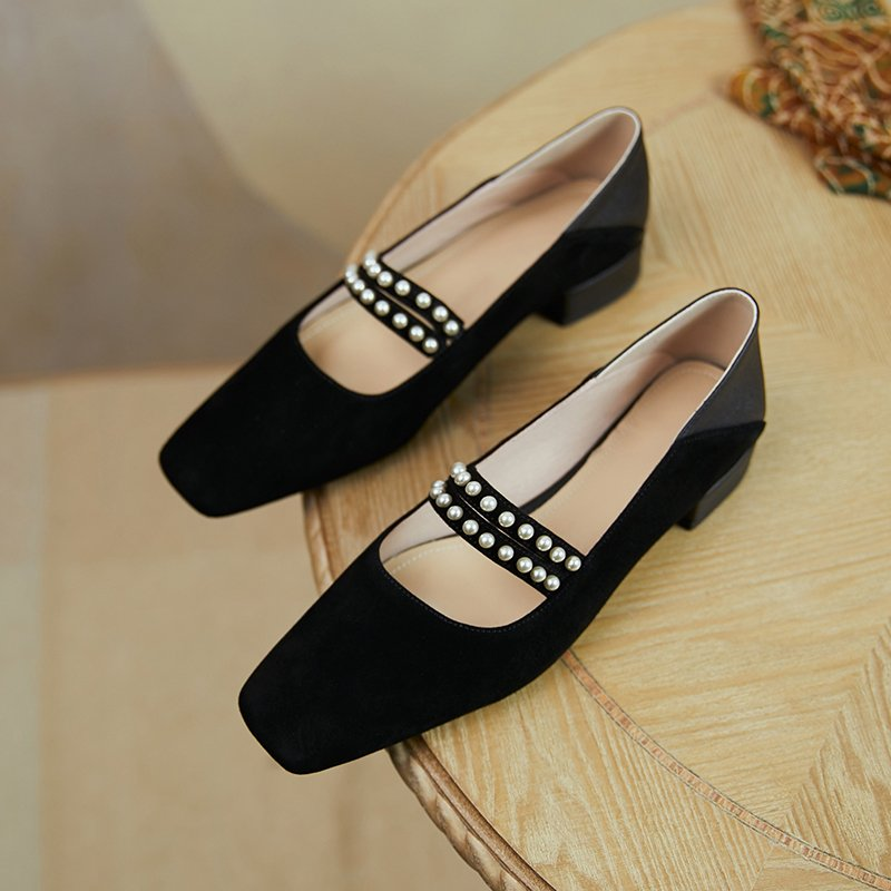 Chiko Shivani Square Toe Block Heels Pumps