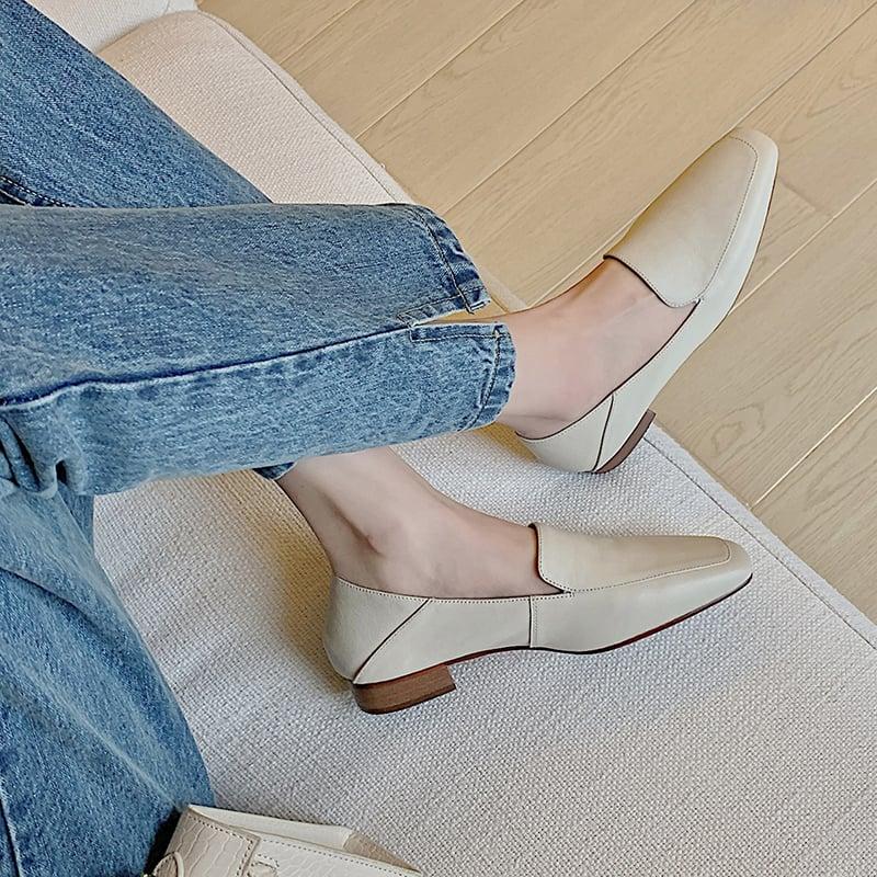 Chiko Tamanna Square Toe Block Heels Loafer