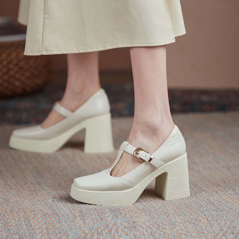 Chiko Etel Square Toe Block Heels Pumps