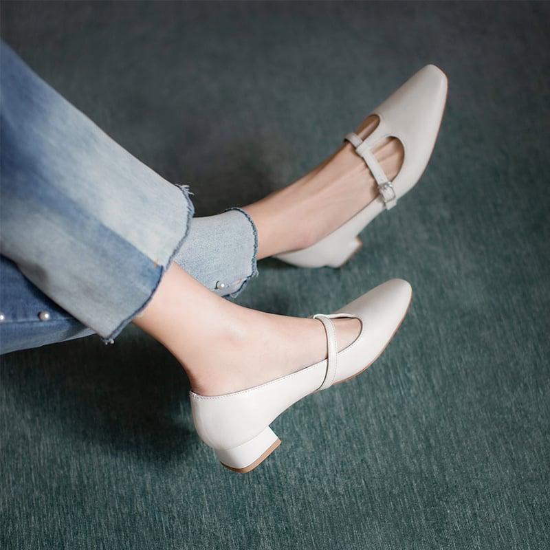 Chiko Chahna Square Toe Block Heels Pumps