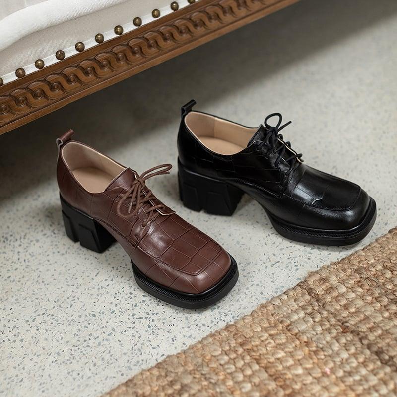 Chiko Kavita Square Toe Block Heels Oxford