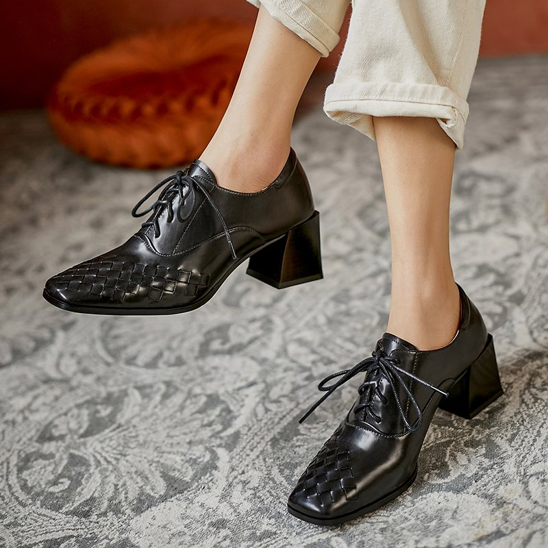 Chiko Manisha Square Toe Block Heels Oxford