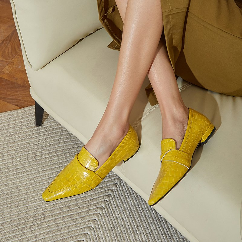 Chiko Neha Square Toe Block Heels Loafer
