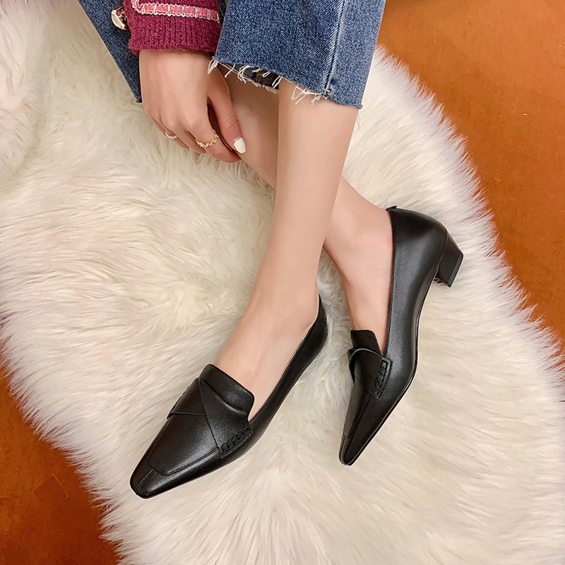 Chiko Payal Square Toe Block Heels Loafer