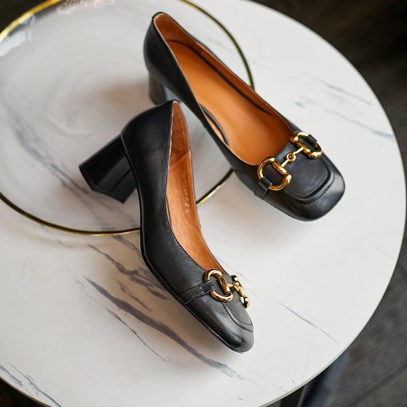 Chiko Crysta Square Toe Block Heels Pumps
