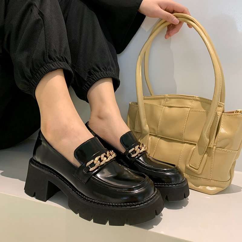 Chiko Autumn Square Toe Block Heels Loafer