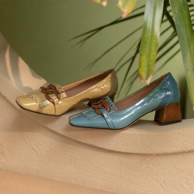 Chiko Carmina Square Toe Block Heels Loafer