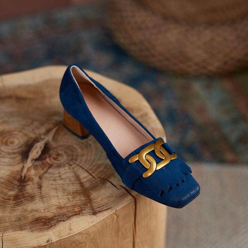 Chiko Cecile Square Toe Block Heels Loafer