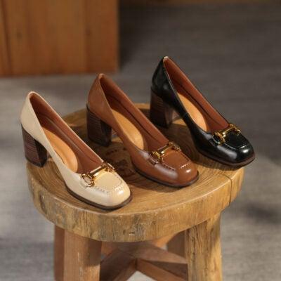 Chiko Celestina Square Toe Block Heels Pumps