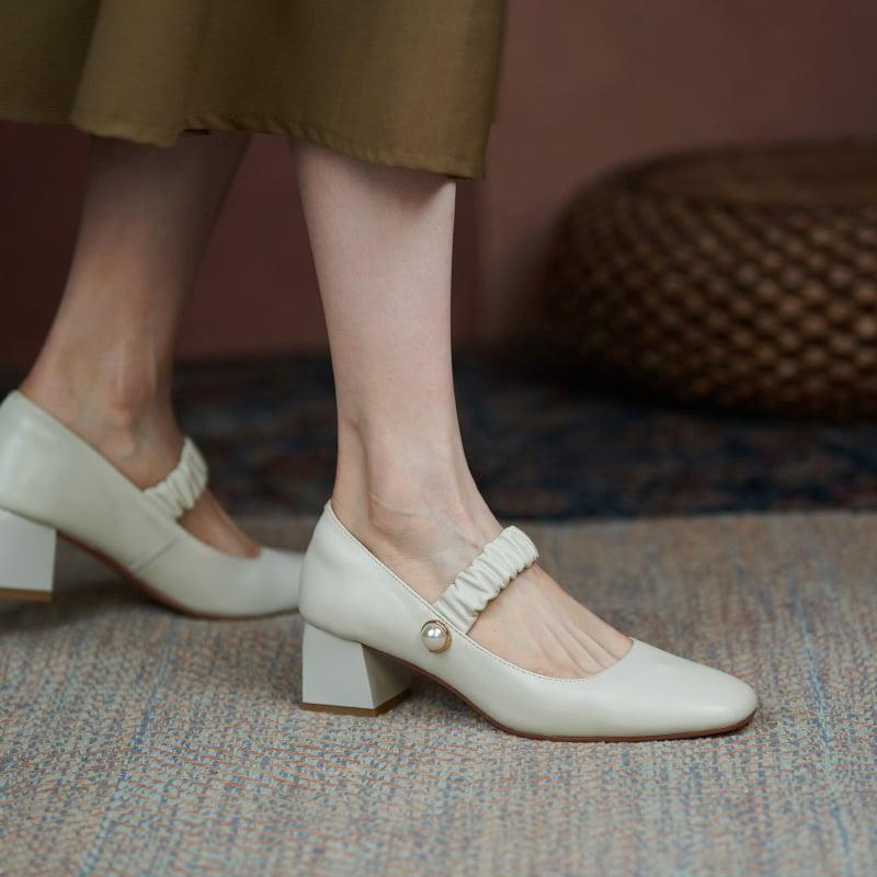 Chiko Cesara Square Toe Block Heels Pumps