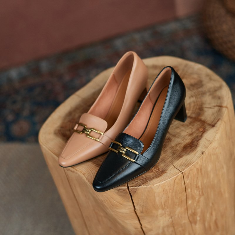 Chiko Cristal Square Toe Chunky Heels Loafer