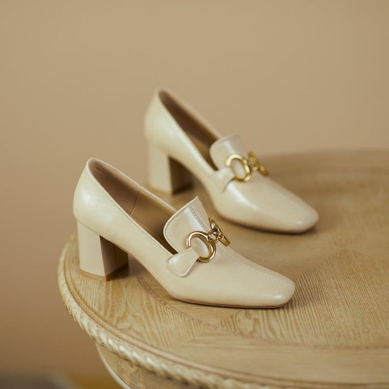 Chiko Crystalin Square Toe Block Heels Loafer