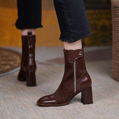 Chiko Consolacion Square Toe Block Heels Boots