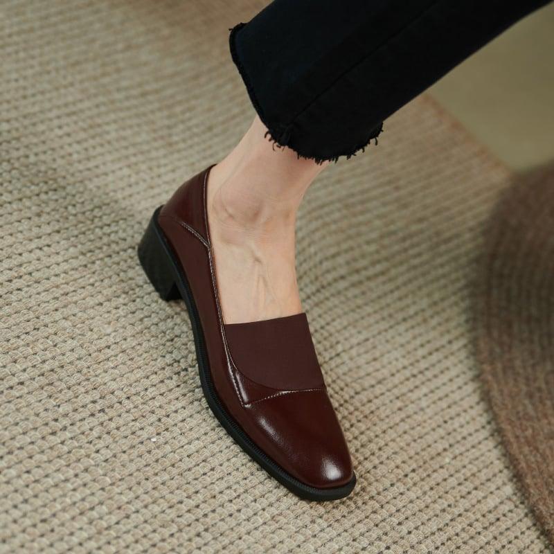 Chiko Desgracias Square Toe Block Heels Loafer