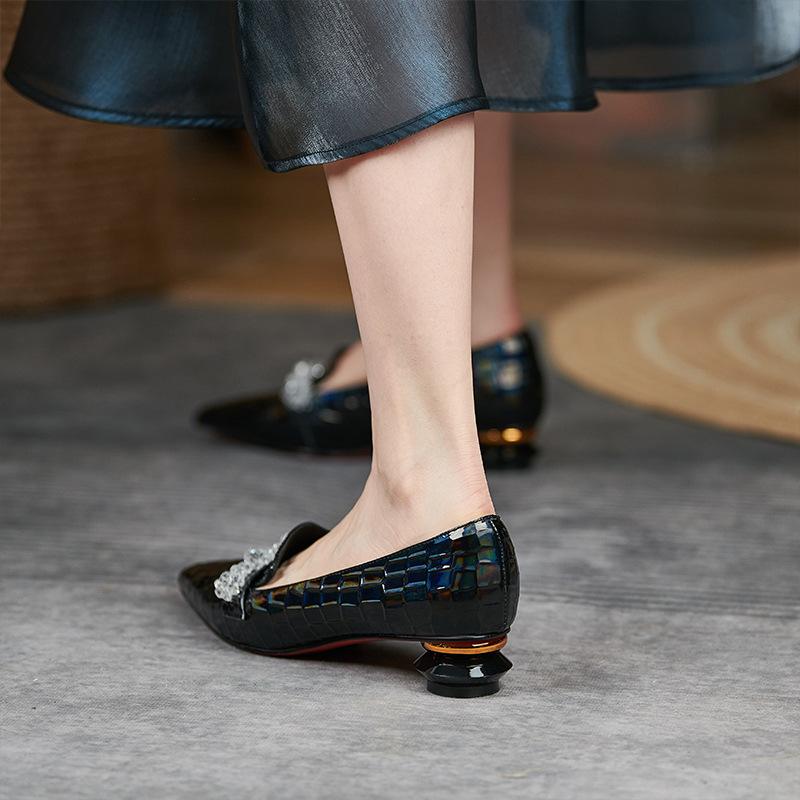 Chiko Diamond Pointed Toe Block Heels Loafer