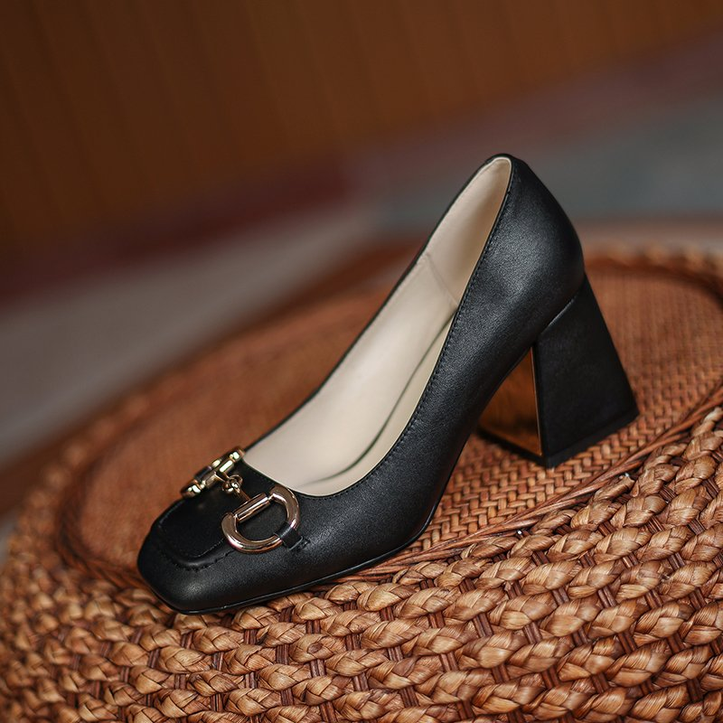 Chiko Dyamond Square Toe Block Heels Pumps