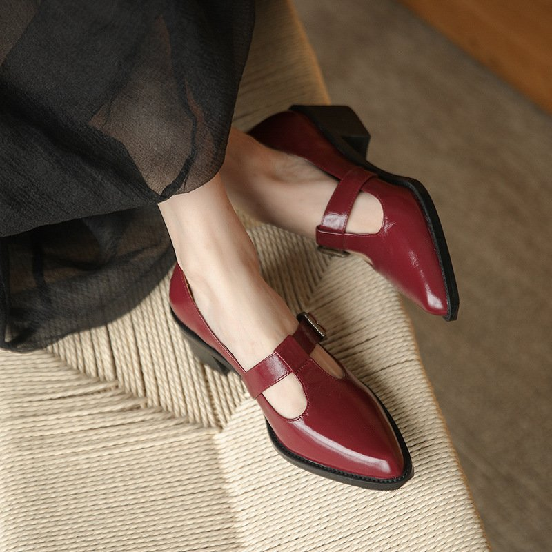 Chiko Dynasty Pointed Toe Block Heels Pumps