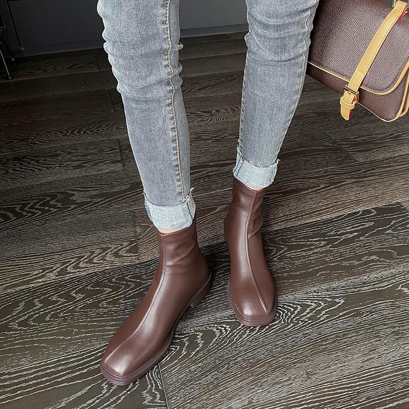 Chiko Fusca Square Toe Block Heels Boots