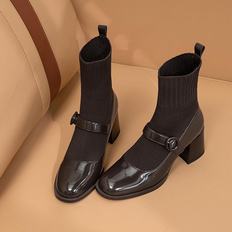 Chiko Emely Round Toe Block Heels Boots