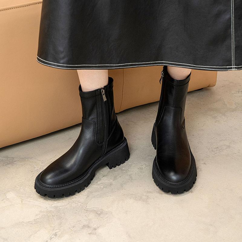 Chiko Emerita Round Toe Block Heels Boots