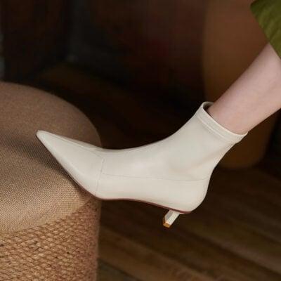 Chiko Hortense Pointed Toe Kitten Heels Boots