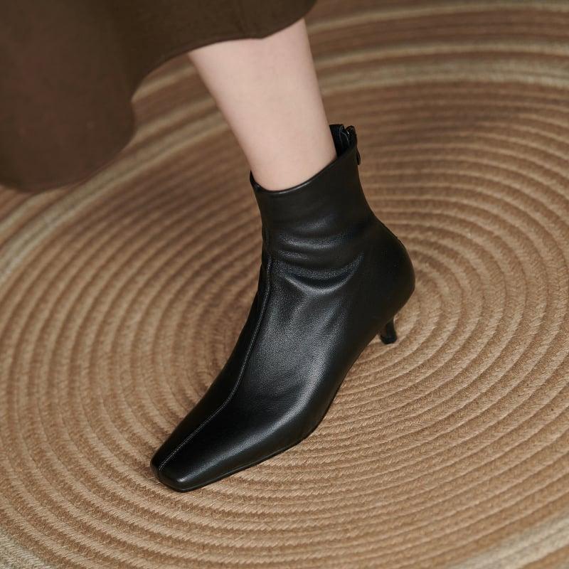 Chiko Japonica Square Toe Kitten Heels Boots