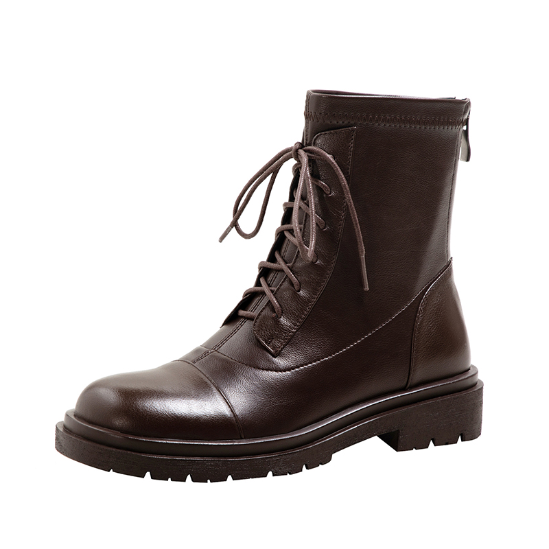 Chiko Ivory Round Toe Block Heels Boots
