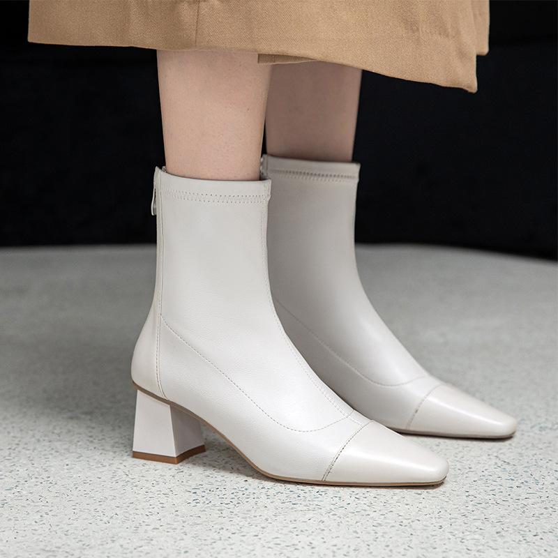 Chiko Inmaculada Square Toe Block Heels Boots