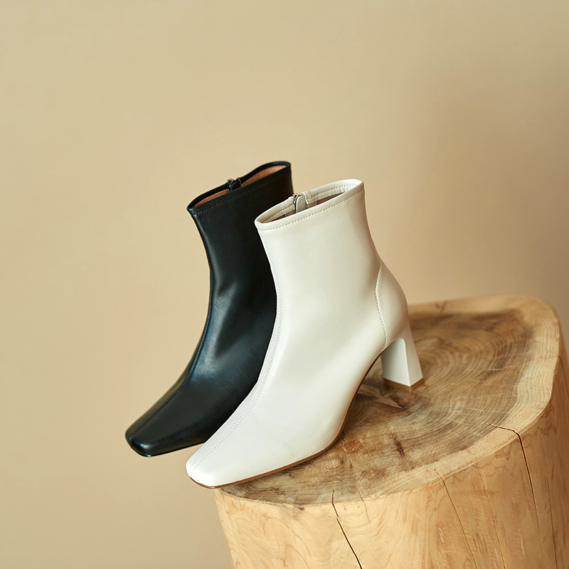 Chiko Laverne Square Toe Chunky Heels Boots
