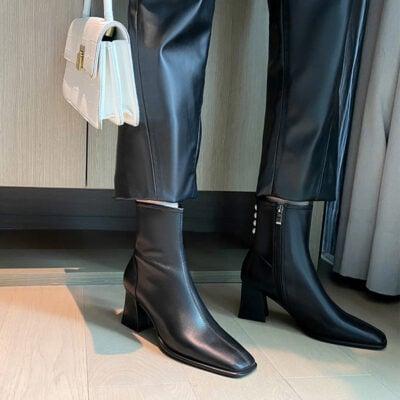 Chiko Lana Square Toe Block Heels Boots