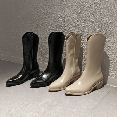 Chiko Liv Pointed Toe Block Heels Boots