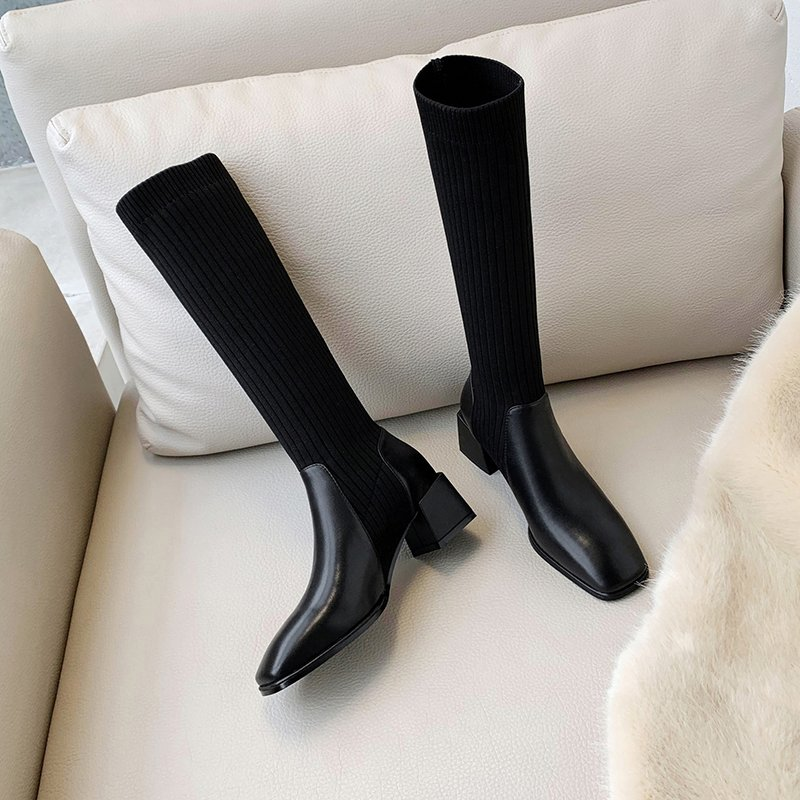 Chiko Livia Square Toe Block Heels Boots