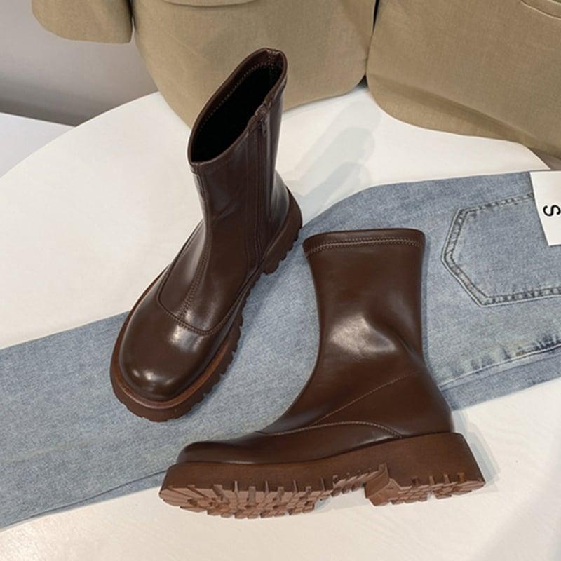 Chiko Lillyann Round Toe Block Heels Boots
